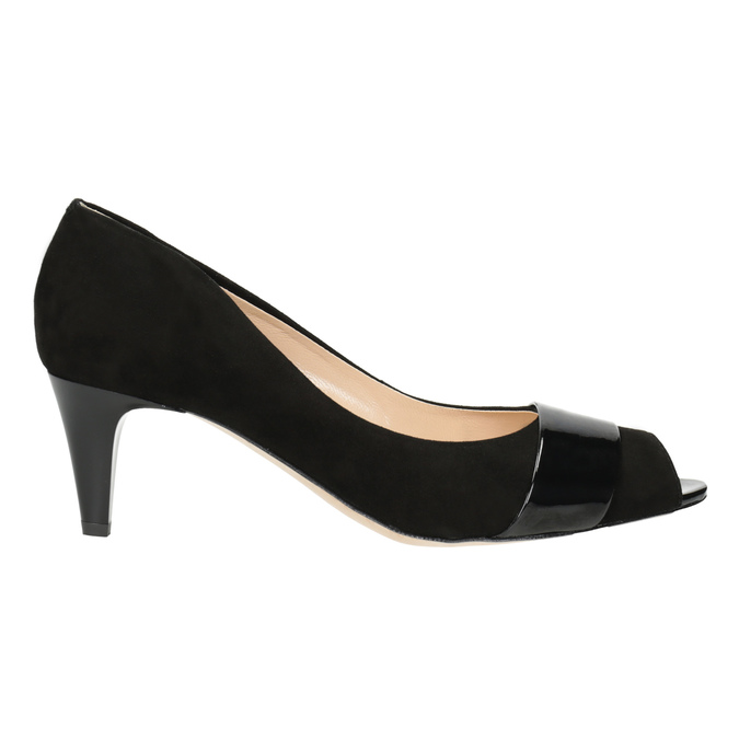 Leather open-toed pumps bata, black , 623-6603 - 26