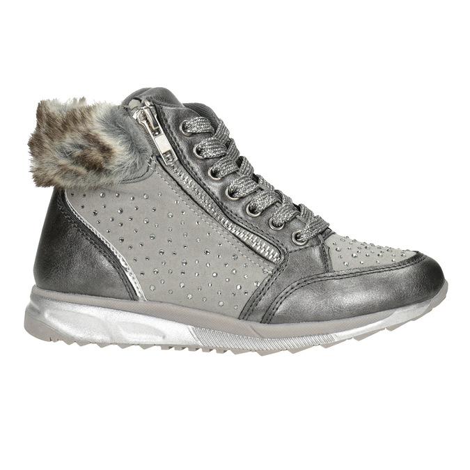 Girls' silver winter boots mini-b, gray , 329-2287 - 26