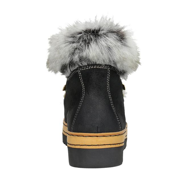 Ladies' Winter Boots with Fur bata, black , 596-6675 - 16