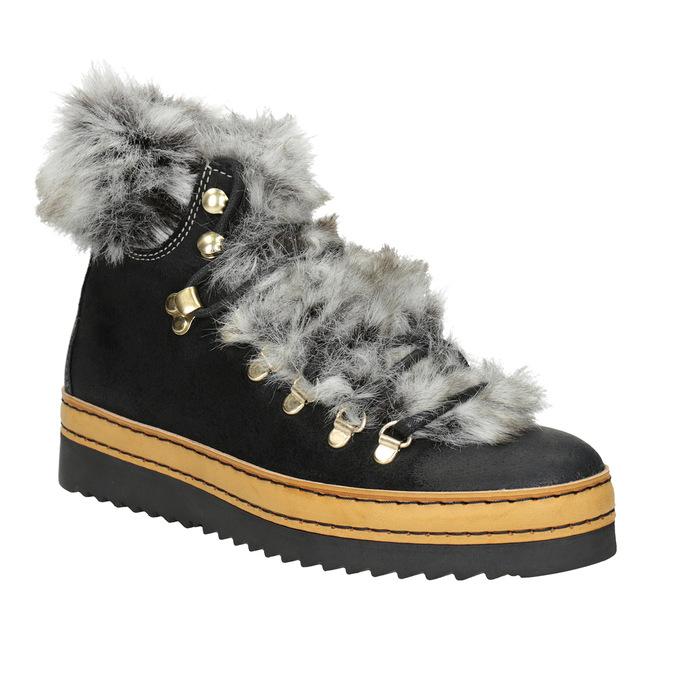 Ladies' Winter Boots with Fur bata, black , 596-6675 - 13