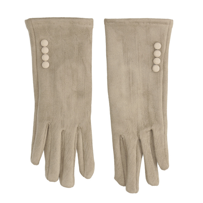 Ladies' Textile Gloves with Buttons bata, beige , 909-8612 - 26