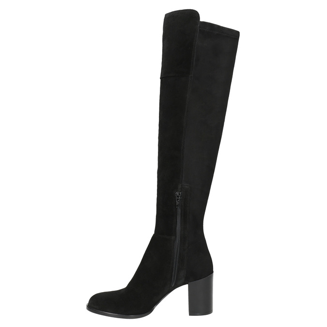 Ladies' Brushed Leather High Boots with Heel bata, black , 693-6664 - 15