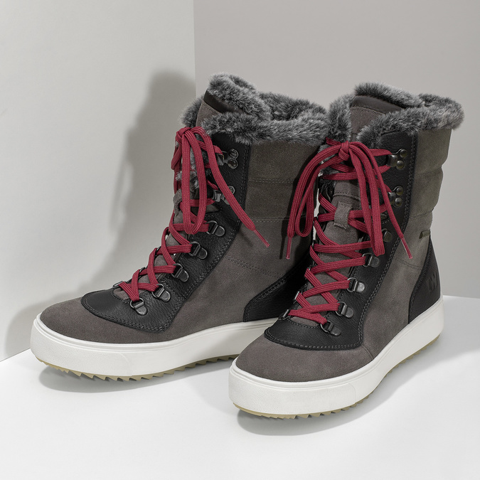 Ladies' leather snow boots weinbrenner, gray , 593-4601 - 16