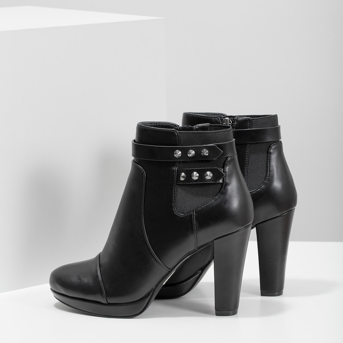Ankle boots with metal studs bata, black , 791-6665 - 16