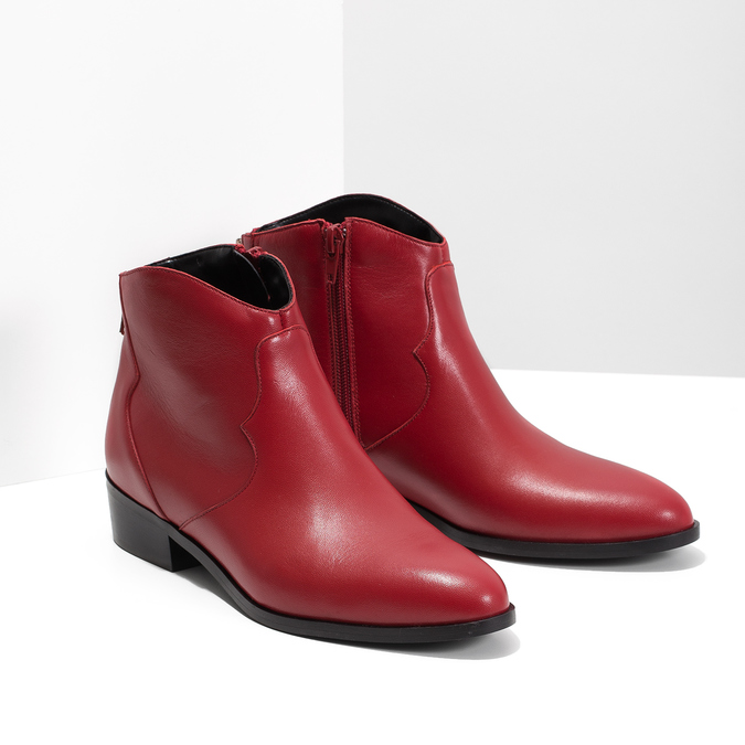 Red high ankle boots bata, red , 594-5665 - 26