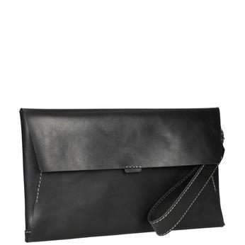 Black leather clutch bata, black , 966-6285 - 13