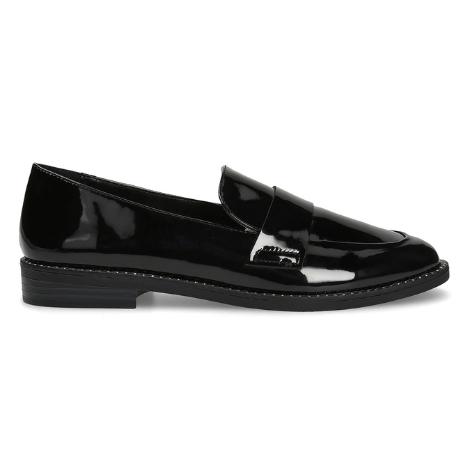 Ladies' patent moccasins bata, black , 511-6607 - 19