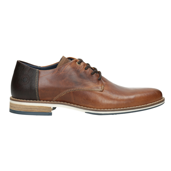 Brown leather dress shoes bata, brown , 826-3924 - 26