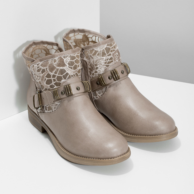 Ladies' ankle boots with lace bata, gray , 591-2628 - 26