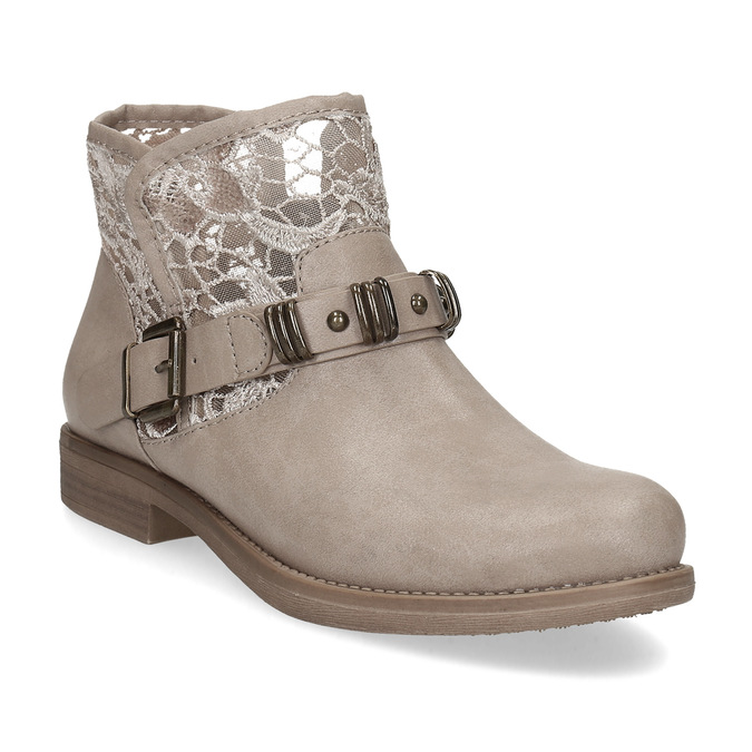 Ladies' ankle boots with lace bata, gray , 591-2628 - 13