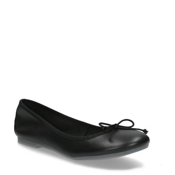 Leather ballerina shoes bata, black , 524-6144 - 13