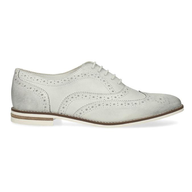 Ladies' leather Brogue shoes bata, white , 526-1649 - 19
