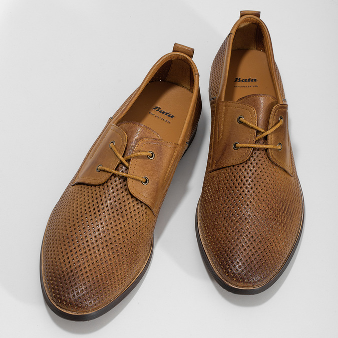 Casual leather shoes with perforations, brown , 856-3601 - 16