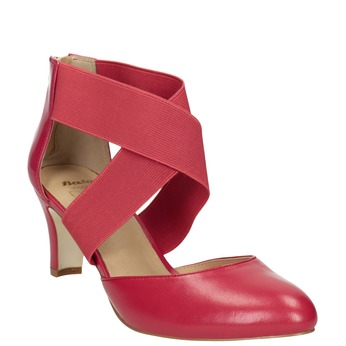 Pink leather pumps insolia, red , 624-5643 - 13
