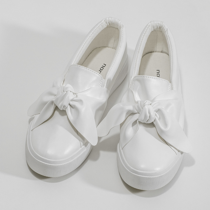 Ladies' slip-ons with bow north-star, white , 511-1606 - 16
