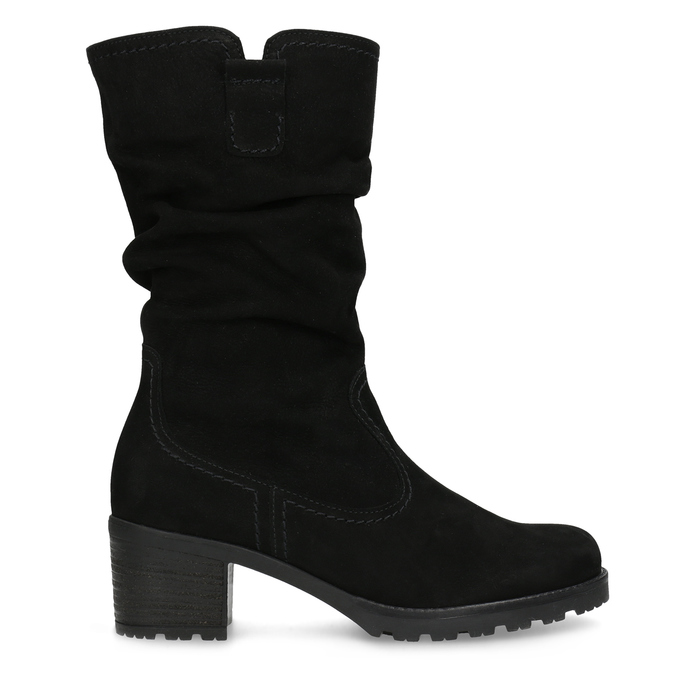 Leather High Boots with Stitching gabor, black , 796-6151 - 19