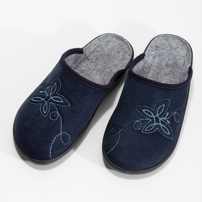 Ladies' Blue Slippers bata, blue , 579-9621 - 16